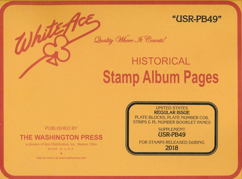 USR-PB49 Reg. Issue Plate Block - 2018 White Ace Supp. Pages.