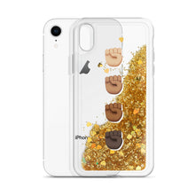 Load image into Gallery viewer, Black Fist Power Liquid Glitter Phone Case