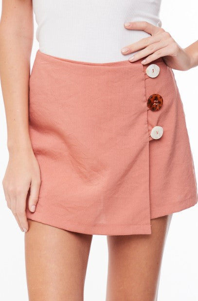 Button Up Solid Skort