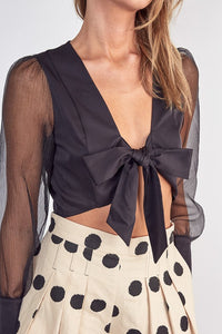 Sheer Puff Sleeve Cropped Top