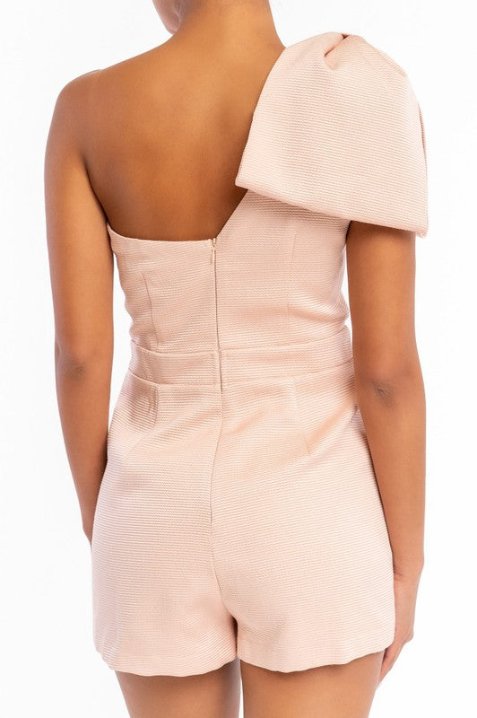 Bow One Shoulder Romper