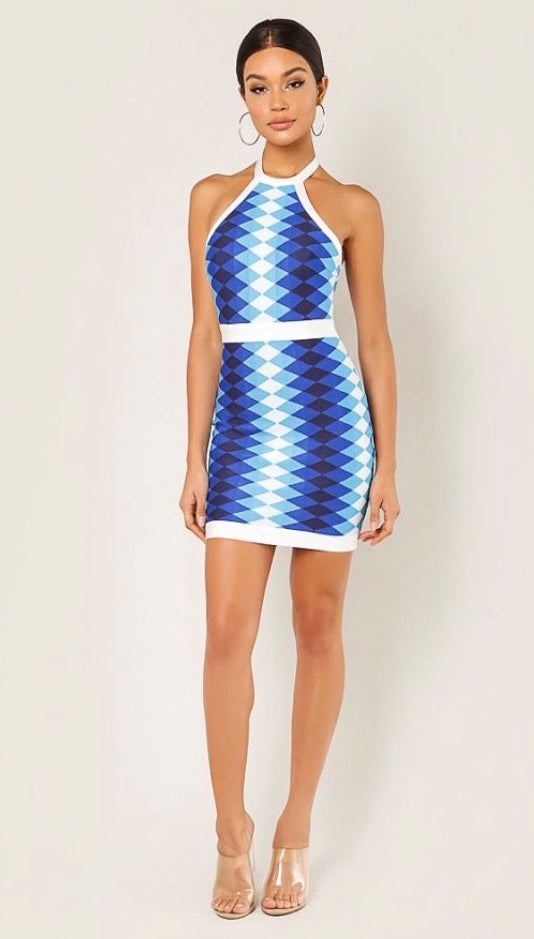 Stella Bandage Dress - Blue Multi