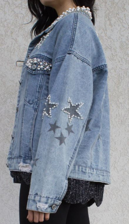 Pearl Embellished Star Demin Jacket