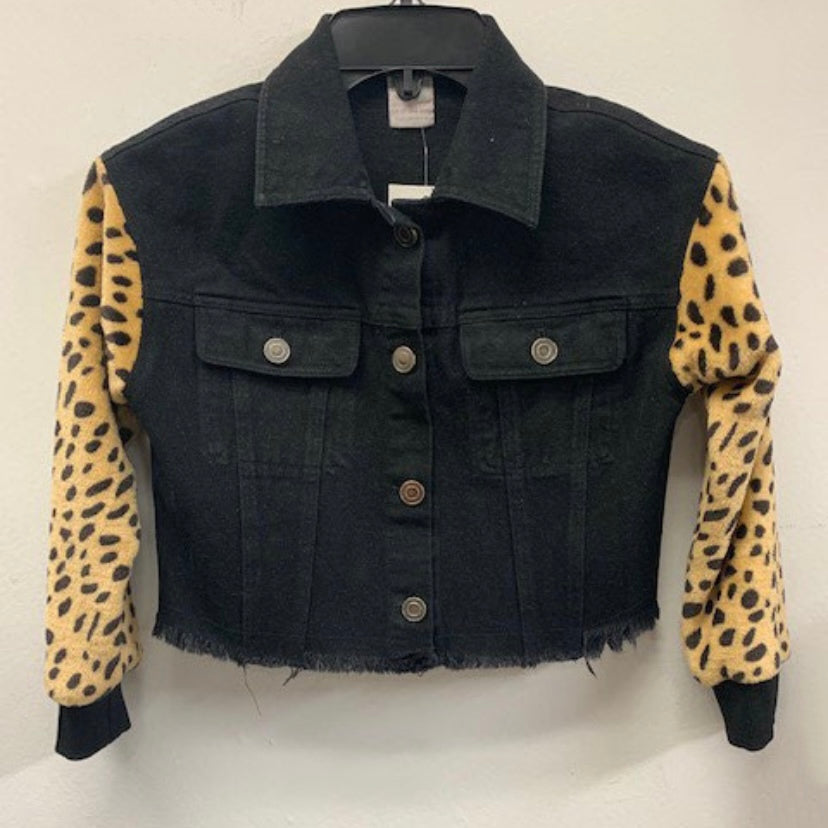 Little's Denim Jacket with Leopard Sleeves