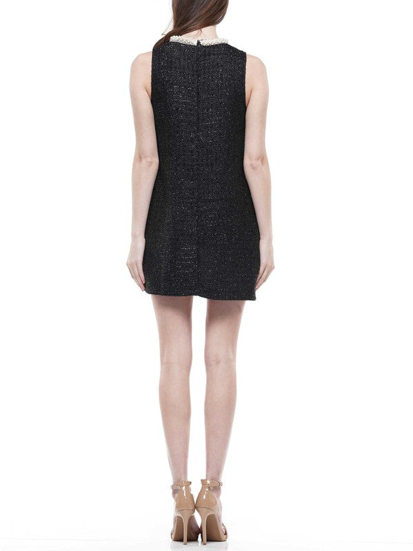 A Line Tweed Dress w/ Pearl Neckline
