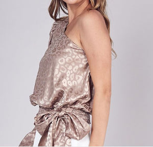 Taupe Animal Patterned One Shoulder Top