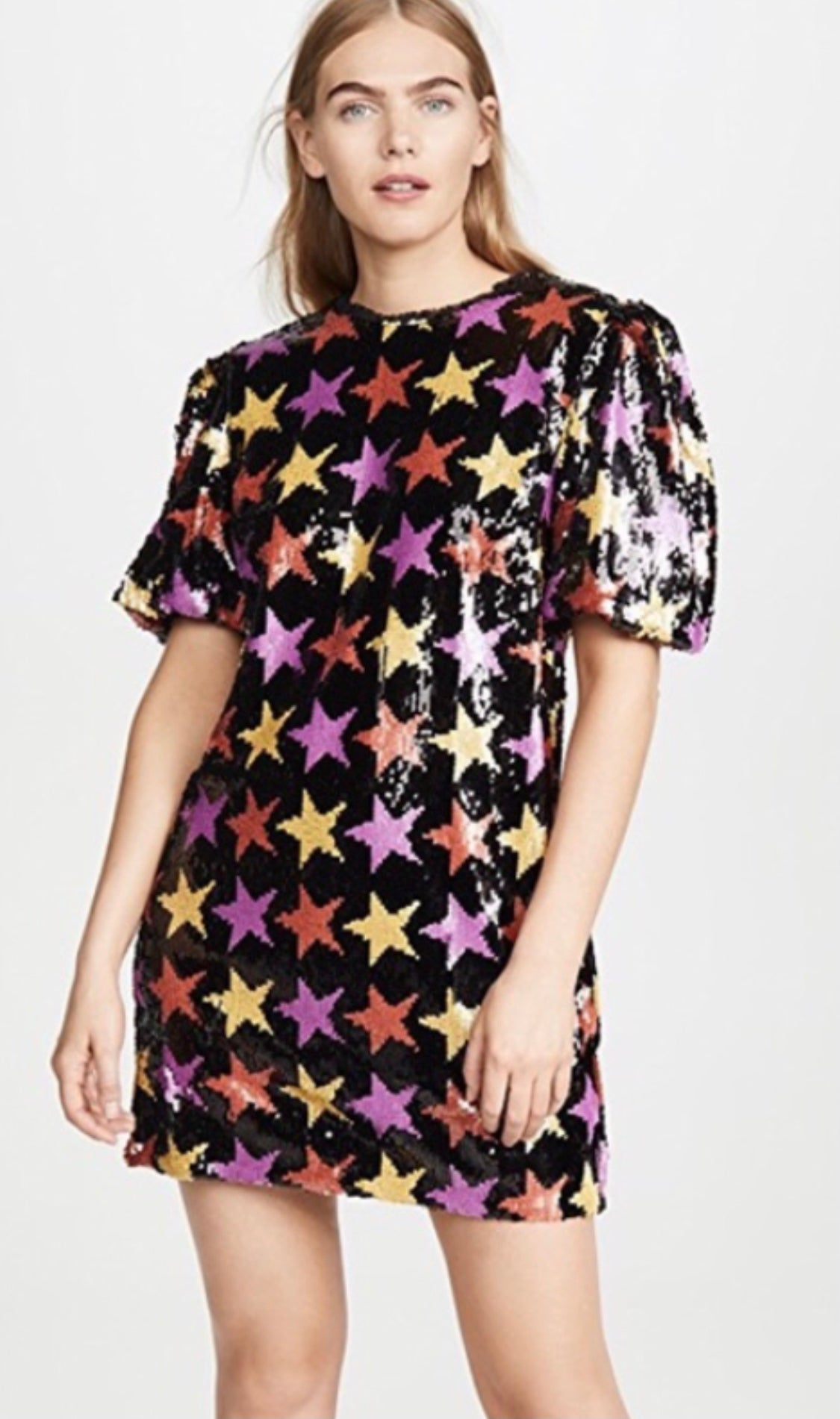 Black Star Sequin Puff Sleeve Dress