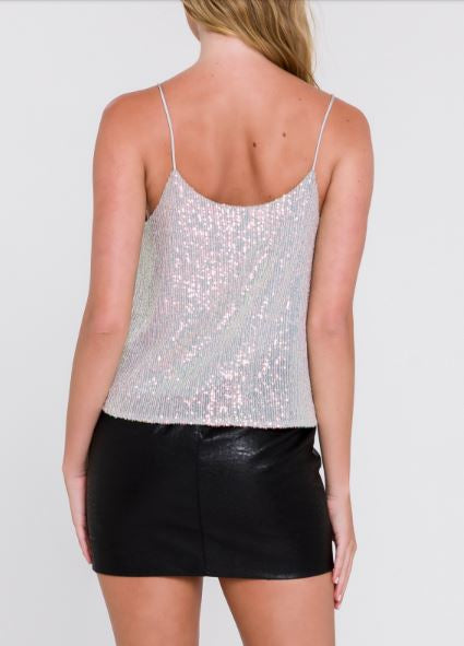 Grey Sequin Cami Top