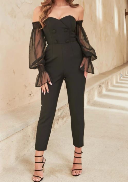 Black Sheer Balloon Sleeve Jumpsuit