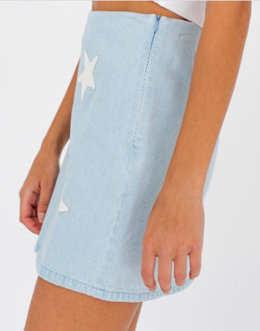 Denim Mini Skirt Star Patches