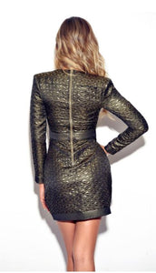 Metallic Deep V Long Sleeve Dress