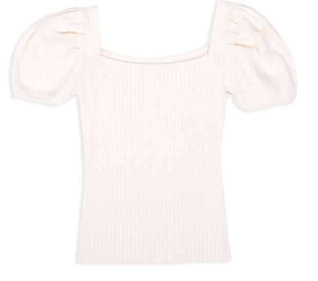 Little's Ivory Puff Sleeve Knit Top