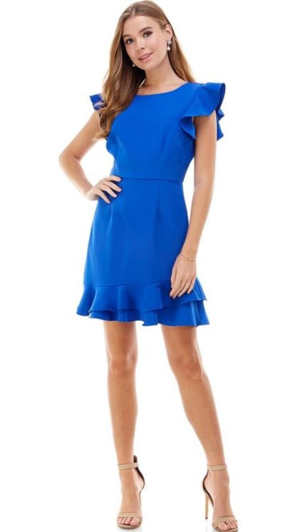Blue Short Ruffle Sleeve Dress