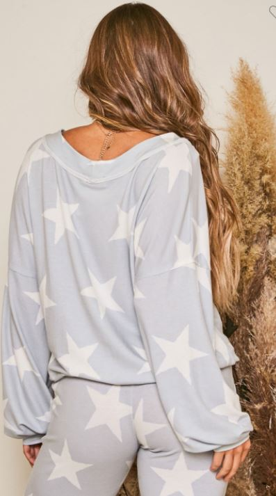 Star Casual Wear Dusty Blue Top and Bottom Set