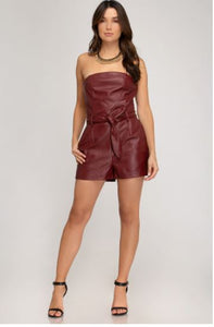Tube Top Leather Inspired Romper