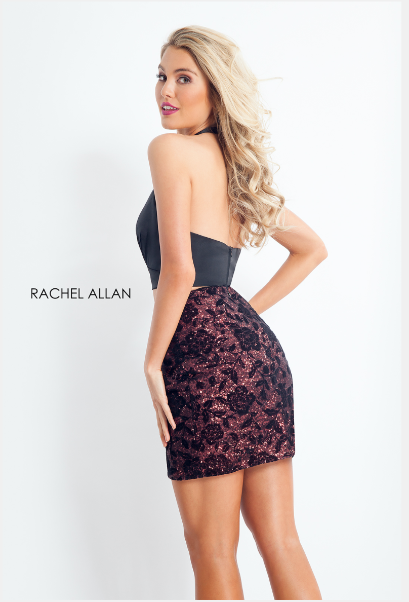 Rachel Allan Style 4653 Halter Two-Piece Metallic Dress