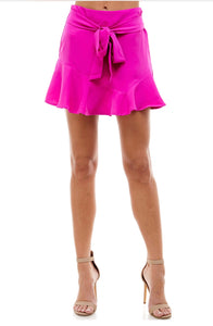 Magenta Short Ruffle Skirt