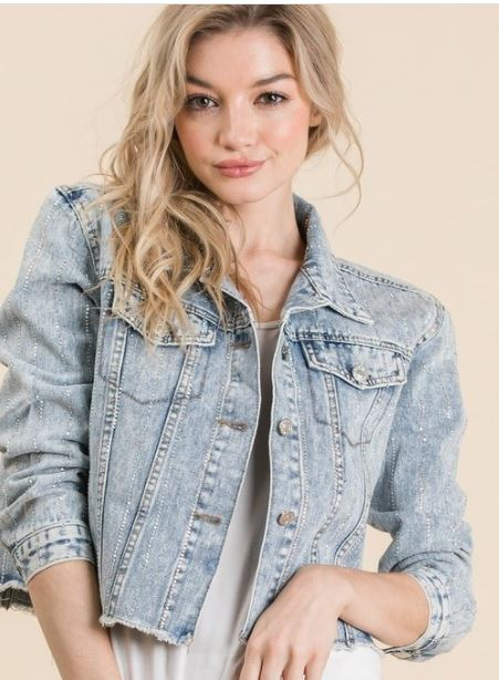 Distressed Striped Rhinestone Denim Jacket