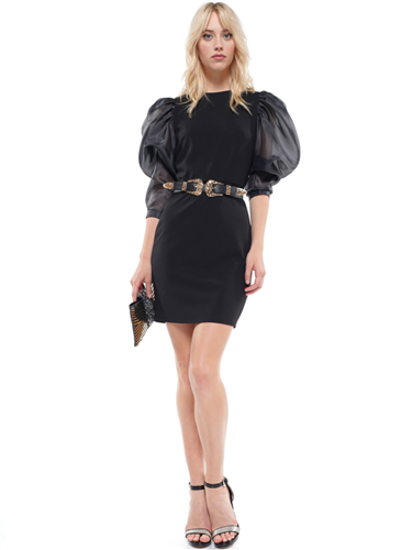 Black Sheer Puff Sleeve Belted Dress