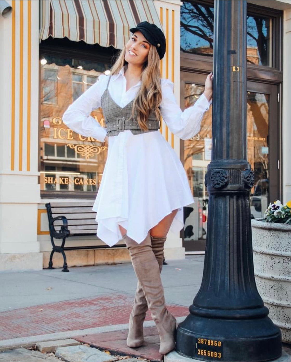 White Long Sleeve Shirt Dress with Vest