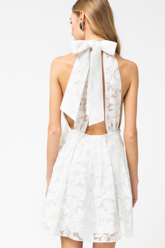 Flora Halter Dress Off White