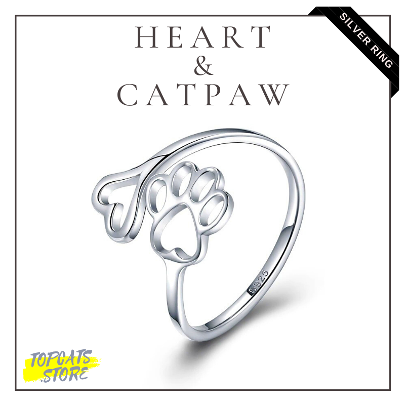 Heart & Cat Paw Silver Ring ❤ Human Accessories ✧ - TopCats.Store