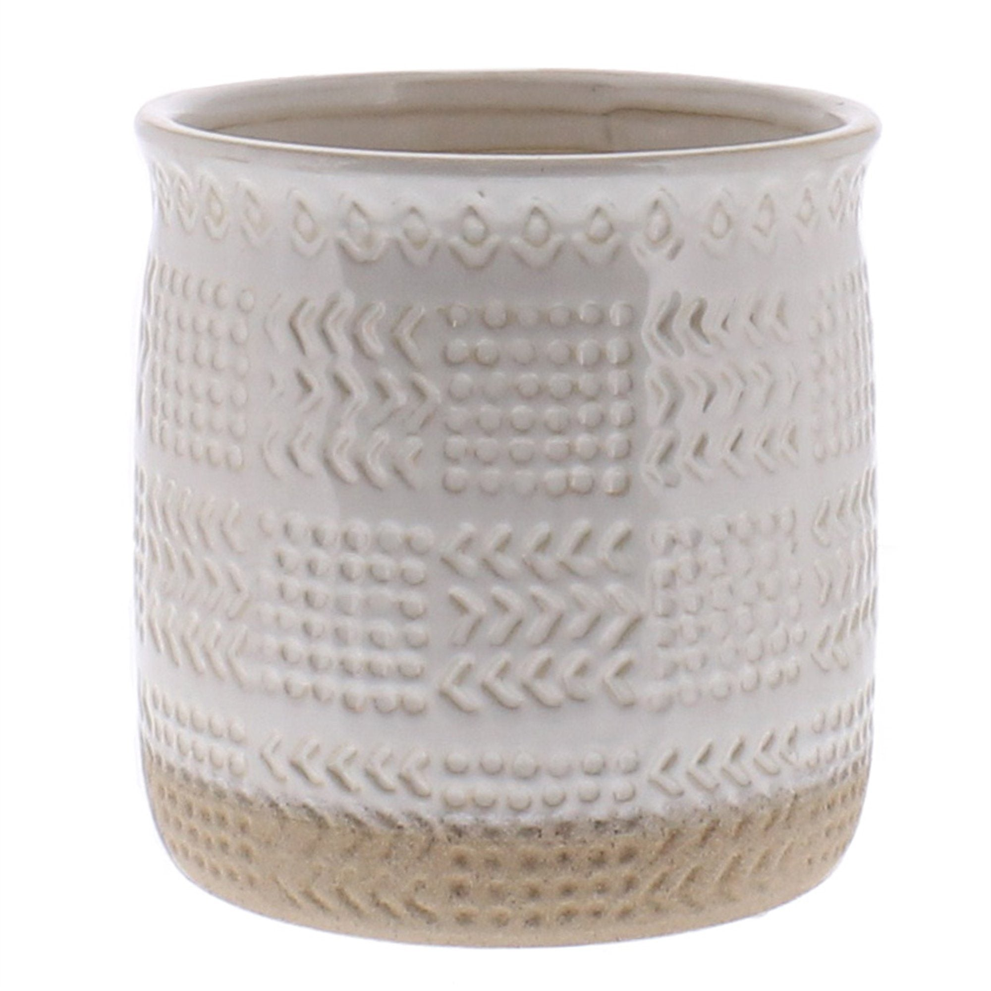 Embossed White Ceramic Planter-SproutSouth-Planter