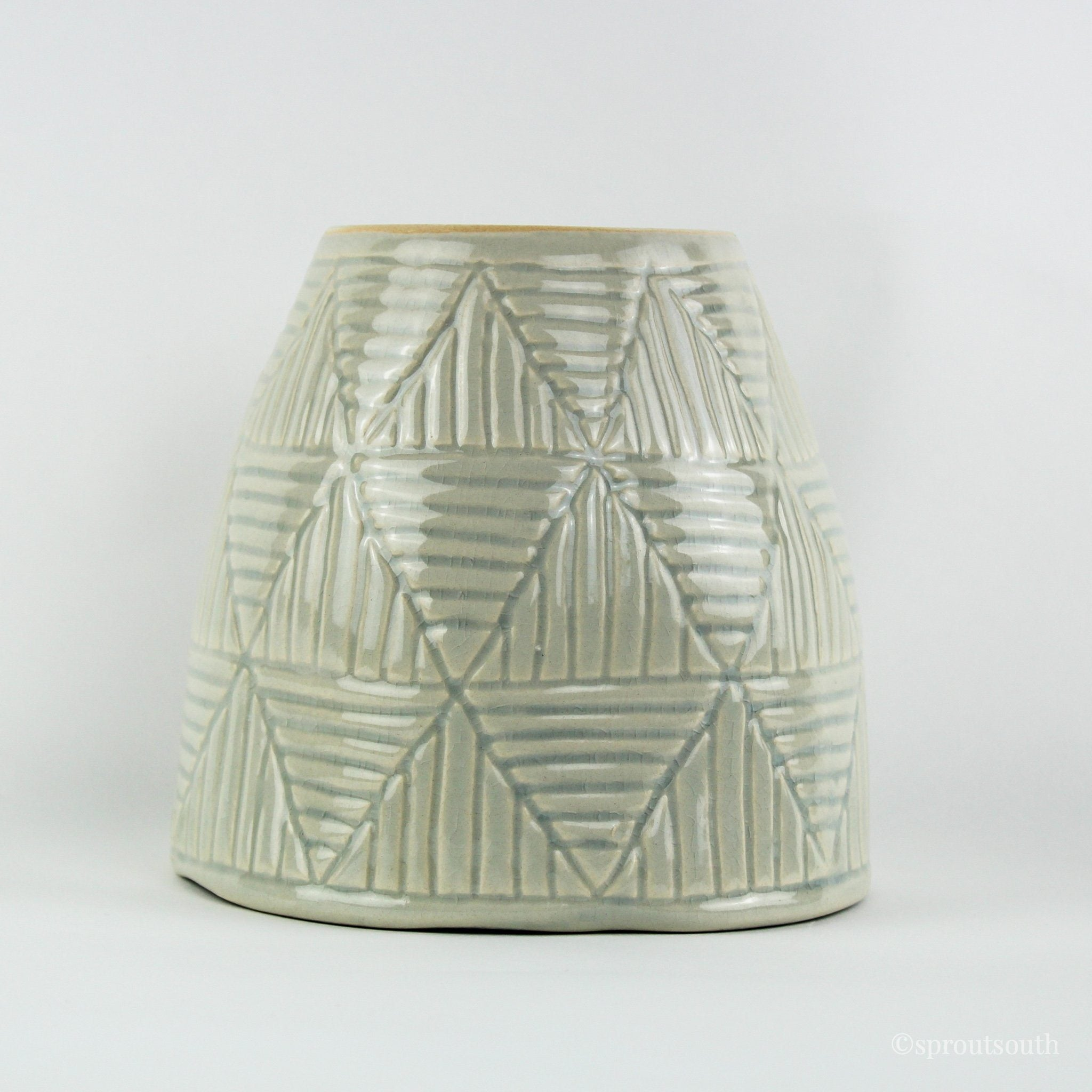 Geometric Lines Teal Planter-SproutSouth-Planter