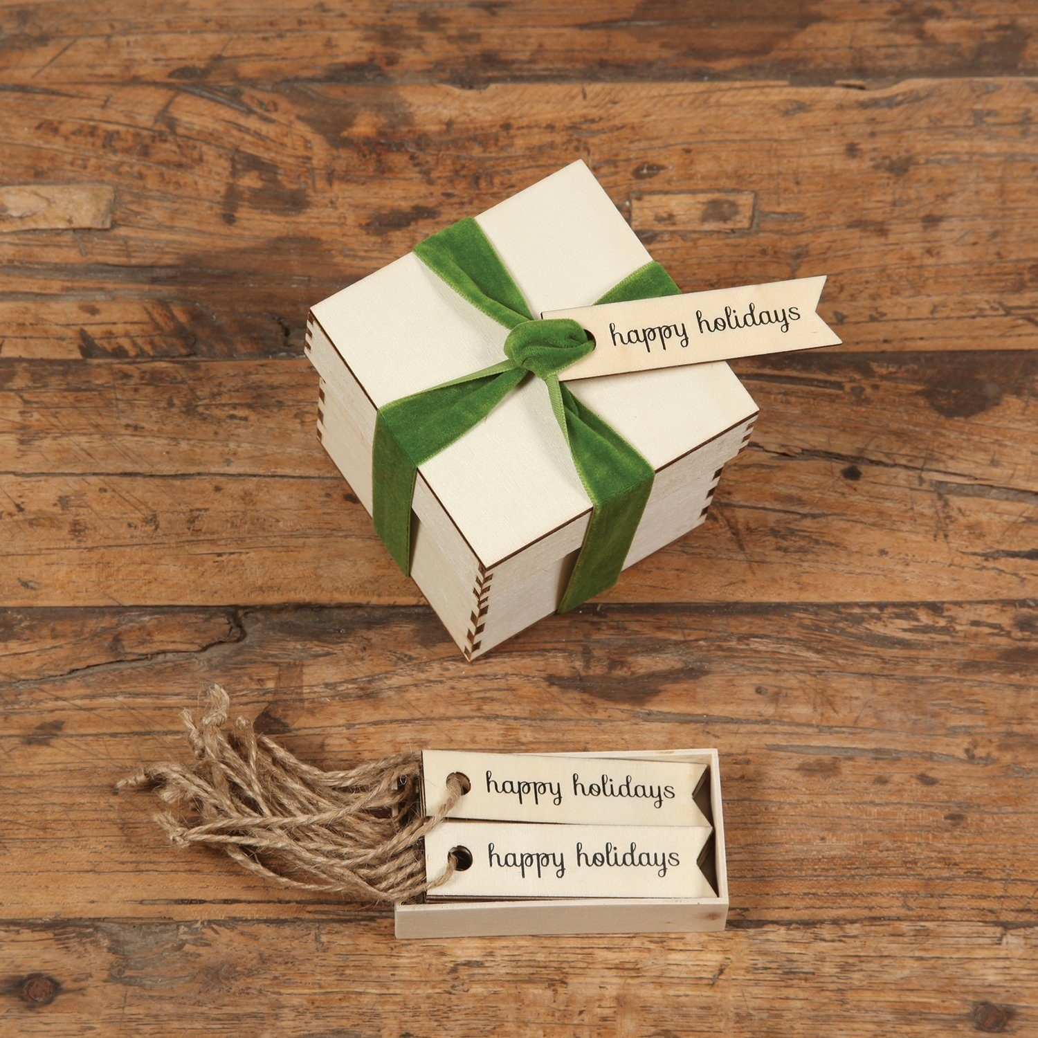 Happy Holidays Wooden Gift Tags-SproutSouth-Stationary