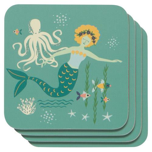 Mermaid Drink Coaster Set [4]-SproutSouth-Kitchen