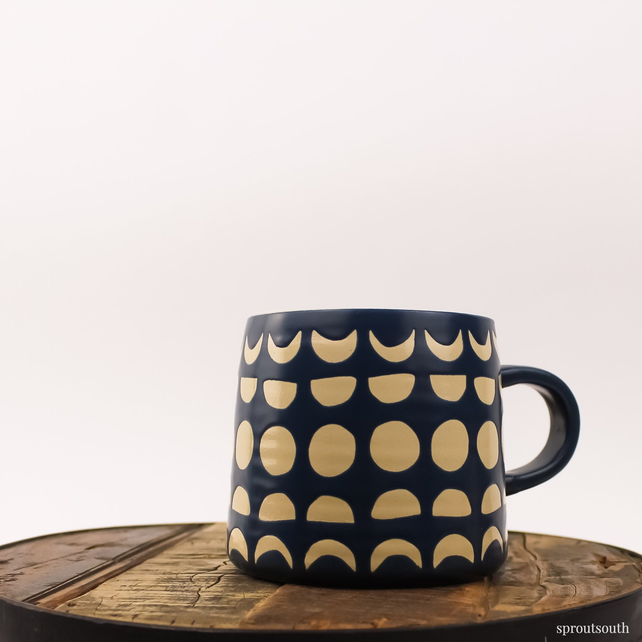 Tear Drop Mug Lifestyle Now Designs Dark Blue Cresent