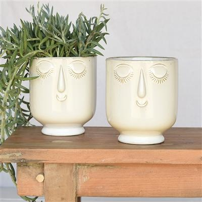 White & Teal Face Planters-SproutSouth-Planter