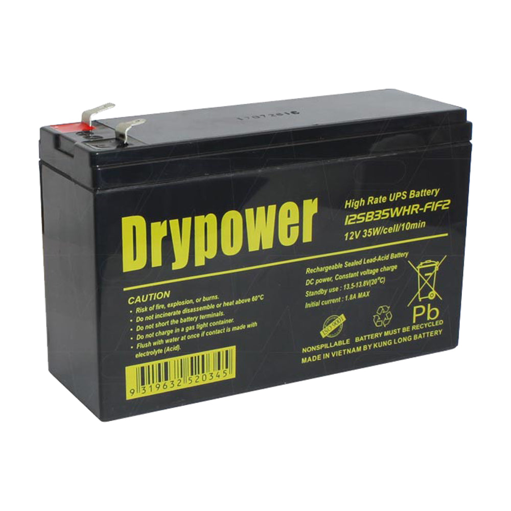 Drypower 12SB35WHR-F1F2 12V 35W (7Ah) SLA Battery (for UPS-Standby)