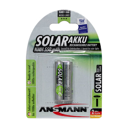 Ansmann AAA 1.2V 550mAh NiMH Raised Button Solar Batteries