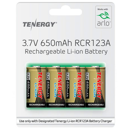 Tenergy rechargeable CR123A size Lithium Ion batteries 650mAh
