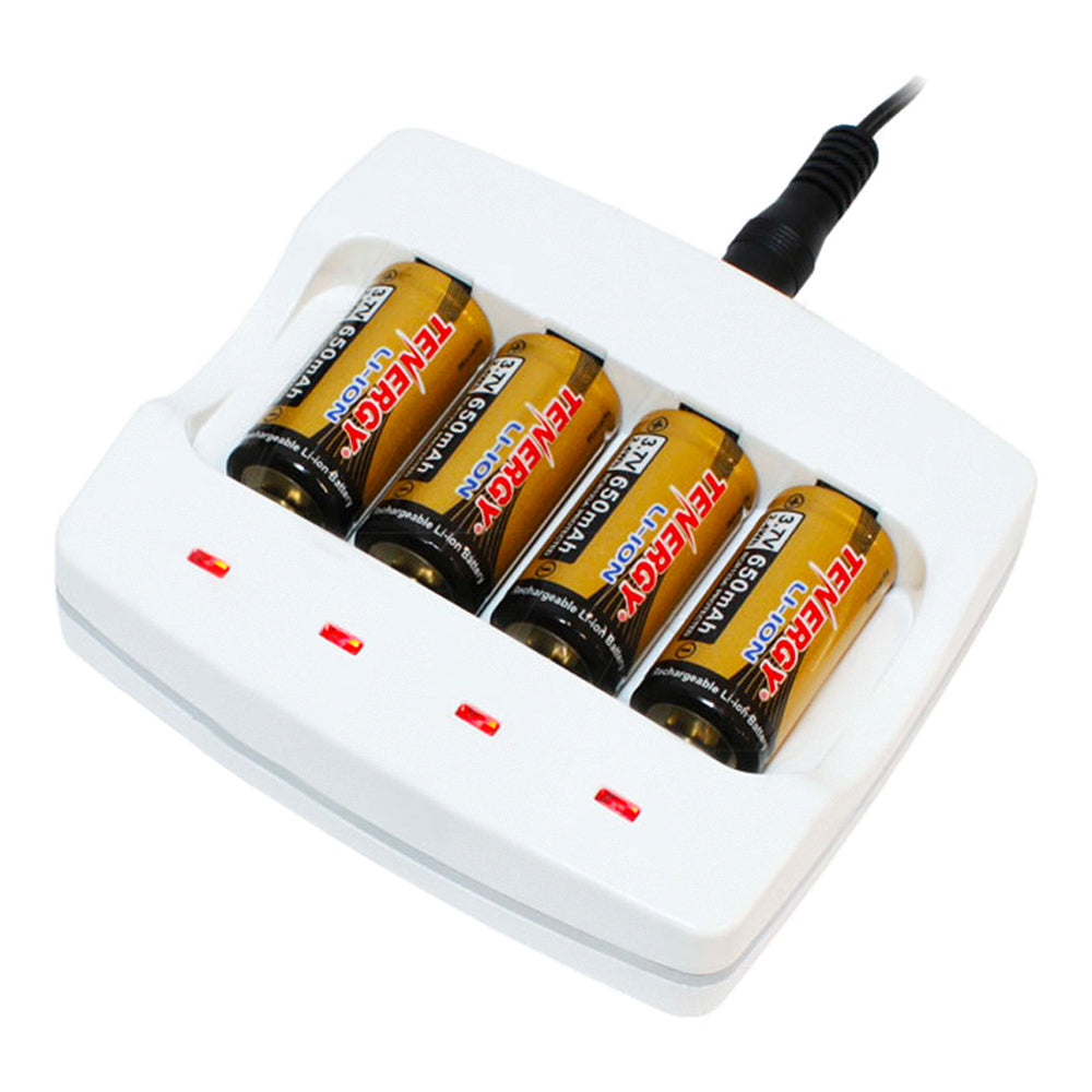 Tenergy 4 cell LiIon 123A 400mA charger w' 4 x 123A battery