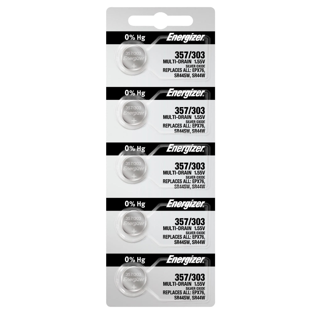 Energizer 357/303 1.55V Silver Oxide Watch Battery (SR44W, SR44SW,EPX76) Strip of 5