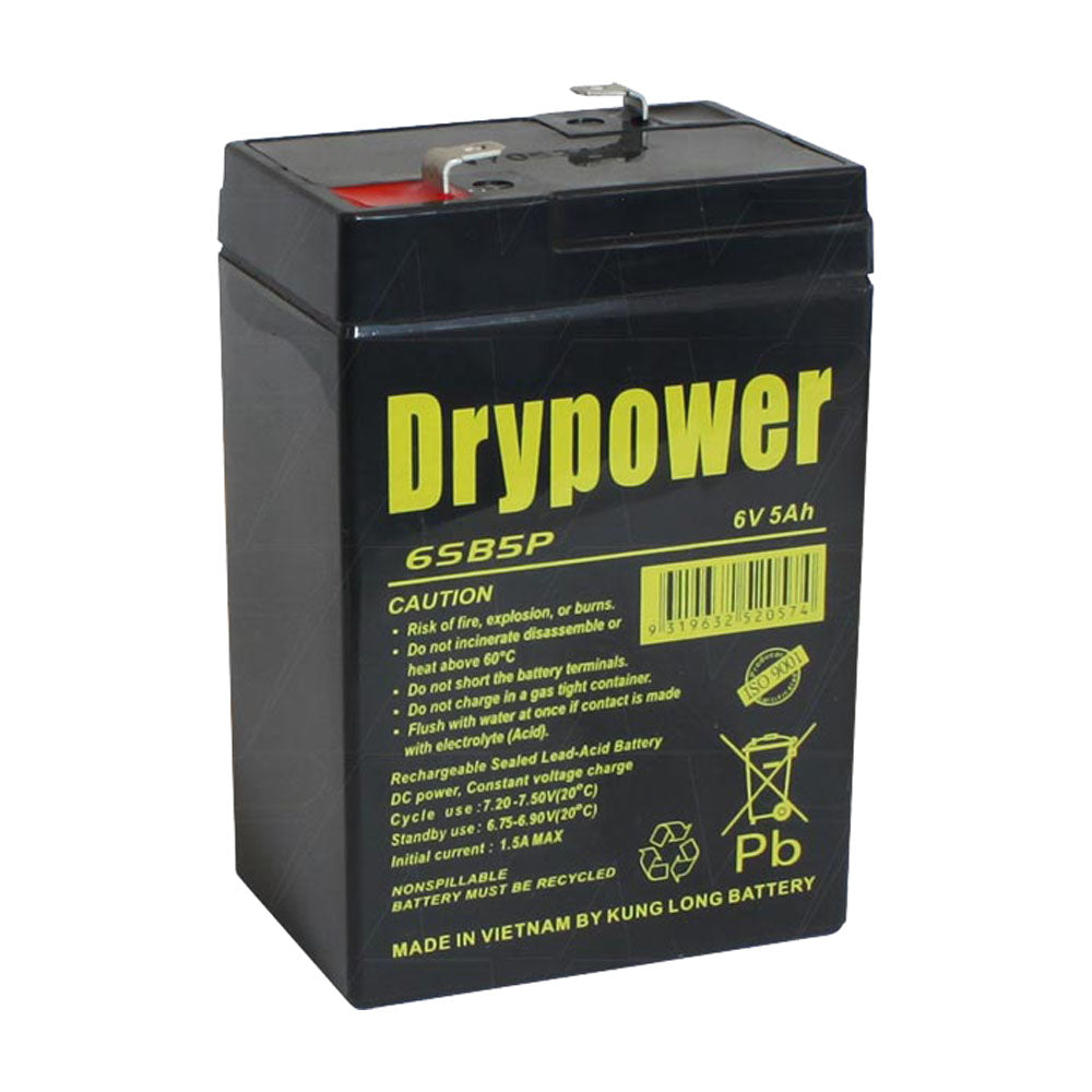 Drypower 6SB5P 6V 5Ah SLA Battery