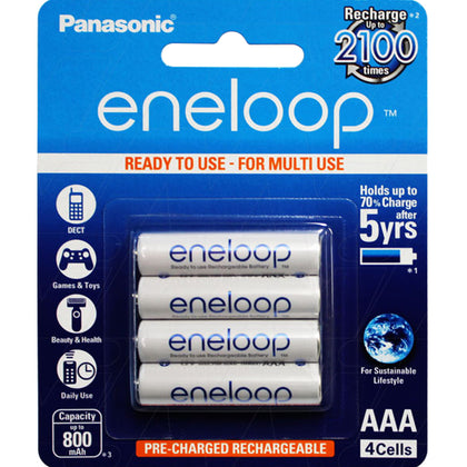 Eneloop AAA 'Ready to use' LSD NiMH White batteries 4Pack