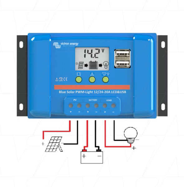 Bluesolar 12V/24V 20A Solar Charge Controller PWM type with LCD+USB SCC010020050