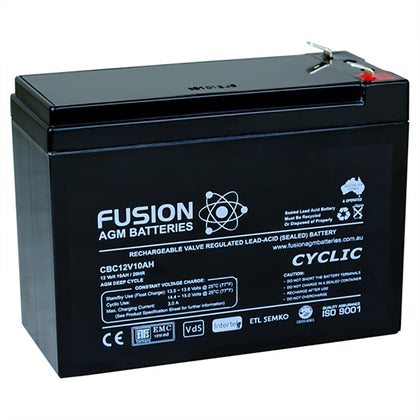 Fusion 12V 10Ah Deep Cycle AGM Battery