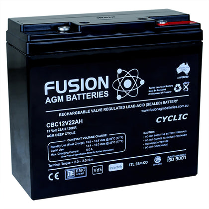 Fusion 12V 22Ah Deep Cycle AGM Battery