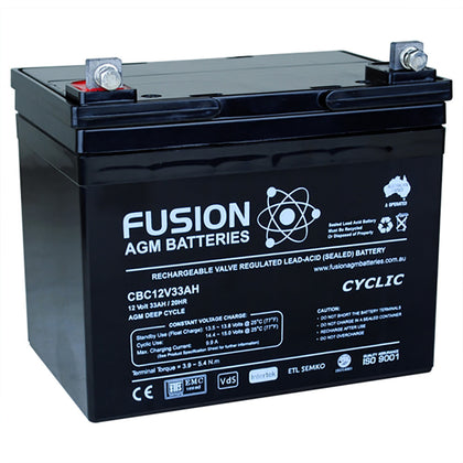 Fusion 12V 34Ah Deep Cycle AGM Battery