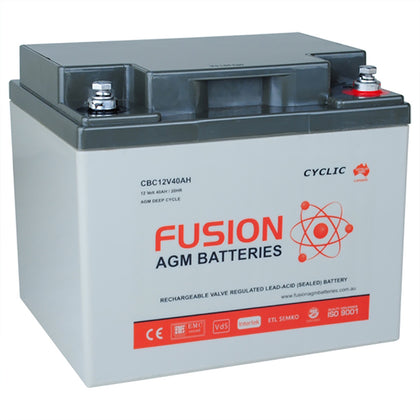 Fusion 12V 42Ah Deep Cycle AGM Battery