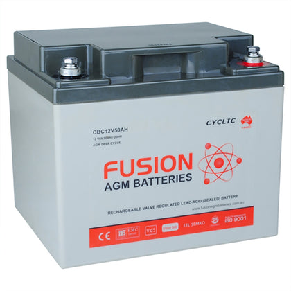 Fusion 12V 52Ah Deep Cycle AGM Battery