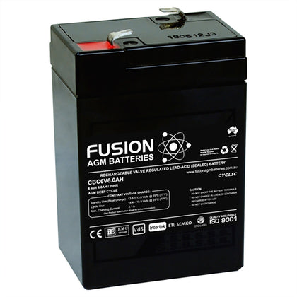 Fusion 6V 6Ah Deep Cycle AGM Battery