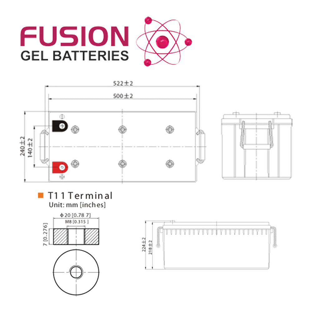 Fusion 12V 200Ah Deep Cycle Gel Battery