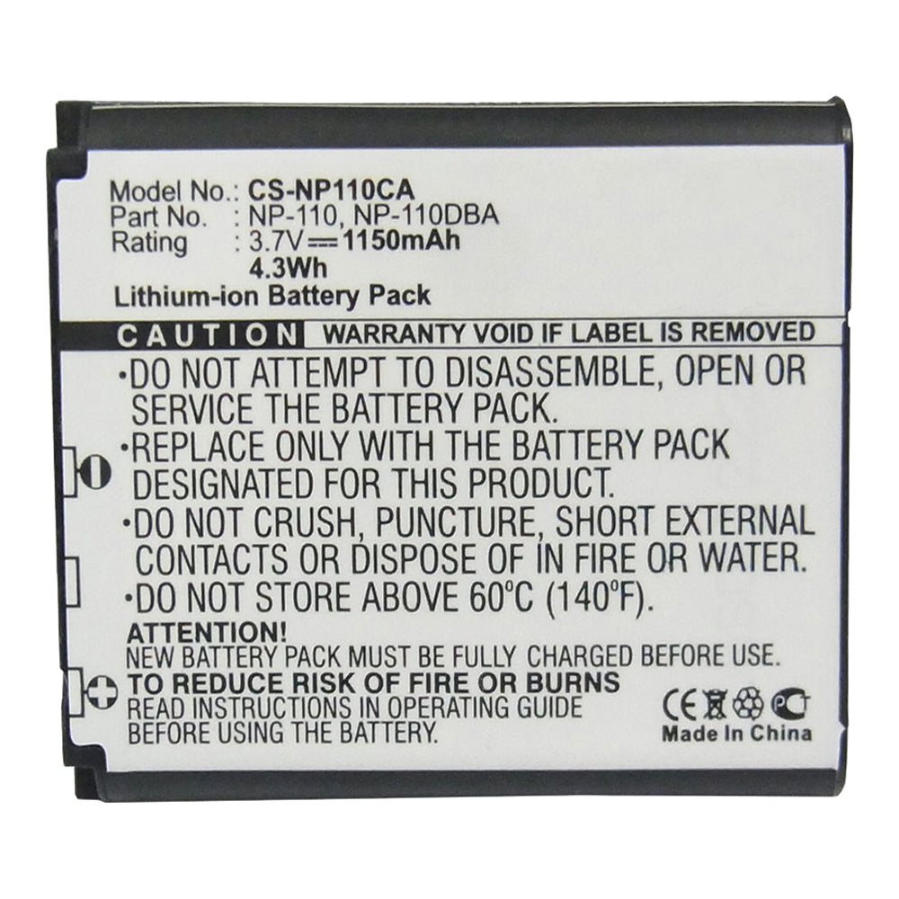 Stryka Battery to suit CASIO NP-110 3.7V 1150mAh Li-ion
