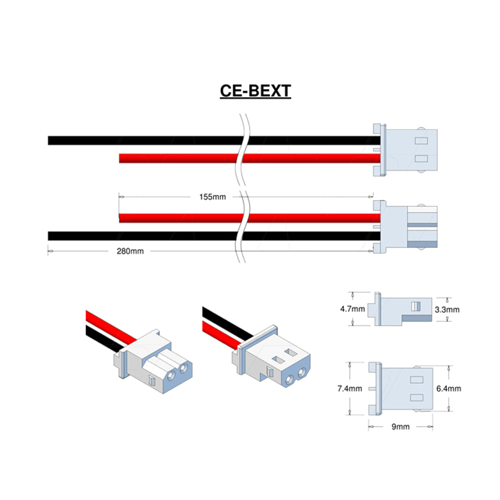Molex Type 50-37-5023 (formerly 5264-2), Leads RED=155mm BLACK=280mm STRIP & TIN.