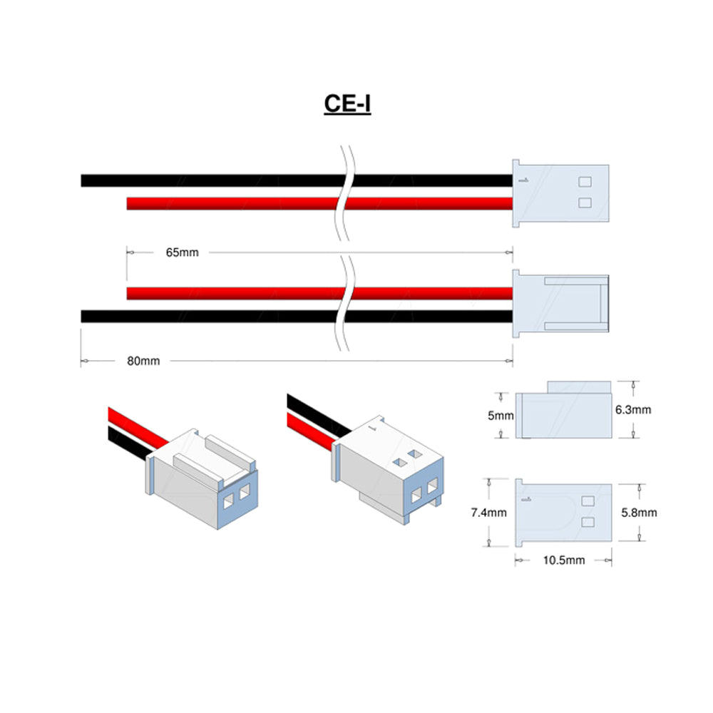 Molex Type 22-01-1024 (formerly 5102-2), Leads RED=65mm BLACK=80mm STRIP & TIN.